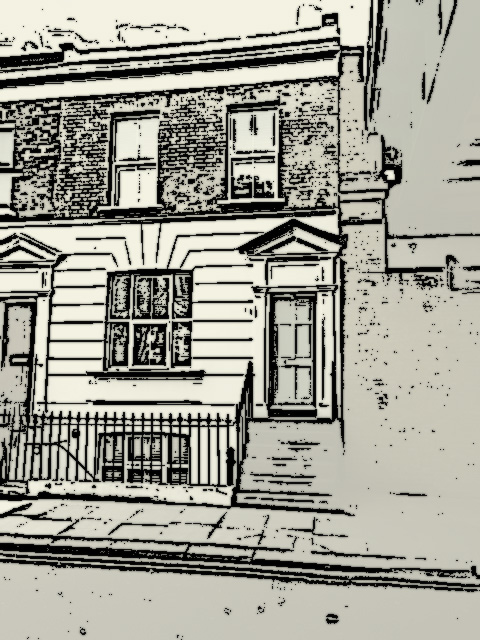 Line drawing effect of ront of 34 Studland Street, Hammersmith
